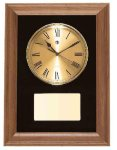 American Walnut Framed Wall Clock with Gold Face & Black Velour Achievement Awards