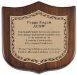 Genuine Walnut Shield Plaque Achievement Awards