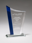 Zenith Series Jade Glass Award with Blue Glass Highlights Achievement Awards