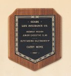 American Walnut Shield Plaque with a Black Brass Plate. Achievement Awards