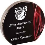 Round Red Vapor Acrylic Achievement Awards