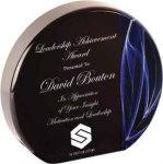 Round Blue Vapor Acrylic Achievement Awards