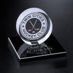 Hockey Puck on Black Glass Base Achievement Awards