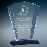 Blue Fan Accent Glass Achievement Awards