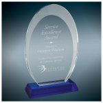 Oval Halo Glass Award With  Blue Base Achievement Awards