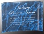 Blue Marbleized Acrylic Crescent Awards Achievement Awards