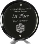 Round Black Piano Finish Glass Standup Achievement Awards
