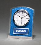 Glass Clock with Blue Carbon Fiber Design Boss Gift Awards