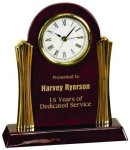 Piano Finish Desk Clock with Gold Metal Columns Boss Gift Awards