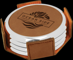 Dark Brown Leatherette Round Coaster Set with Silver Edge Boss Gift Awards