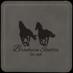 Gray Leatherette Square Coaster Boss Gift Awards