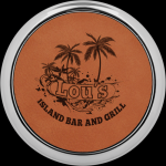 Rawhide Leatherette Round Coaster with Silver Edge Boss Gift Awards