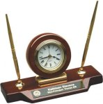 Rosewood Piano Finish Desk Clock W/Two Pens Boss Gift Awards