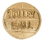 Gold Volleyball Metal Chenille Letter Insignia Chenille Lapel Pins