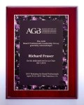 Airflyte® Rosewood High Lustr Plaque with Violet Marble Border Design Employee Awards