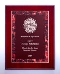Airflyte® Rosewood High Lustr Plaque with Red Marble Border Design Employee Awards