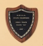American Walnut Shield Plaque with a Black Brass Plate Employee Awards
