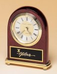 Rosewood Piano Finish Desk Clock on a Brass Base Employee Awards