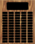Walnut Finish Perpetual Plaque with Black Brass Plates Employee Awards