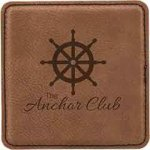 Dark Brown Square Leatherette Coaster Employee Awards