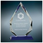 Crystal Diamond with Blue Wedge Base Employee Awards