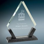 Diamond Premier Glass with Black Marble Base Employee Awards