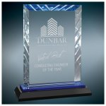Rectangle Premier Accent Glass Award on a Black and Blue Base Employee Awards
