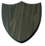 Three Point Walnut Finish Shield Plaque Employee Awards