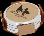 Light Brown Leatherette Round Coaster Set with Silver Edge Employee Awards