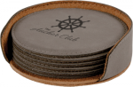 Gray Round Leatherette Coaster Set Employee Awards