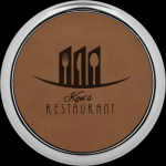 Dark Brown Leatherette Round Coaster with Silver Edge Employee Awards