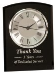 Black Glass Arch Self Standing Clock Employee Awards