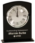 Black Glass Arch Clock with Base Employee Awards