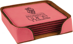 Pink Leatherette Square Coaster Set Employee Awards
