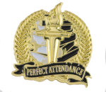 Bright Gold Academic Perfect Attendance Lapel Pin Lapel Pins