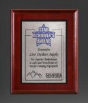 Cherry Finish Panel; Silver Tone Plate Sales Awards