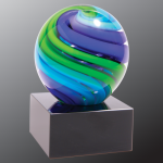 2 Tone Blue/Green Sphere Art Glass Sales Awards