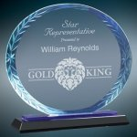 Oval Blue Accent Glass Sales Awards