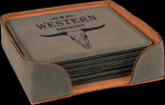 Gray Square Leatherette Coaster Sets Sales Awards