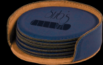 Blue Round Leatherette Coaster Set Sales Awards
