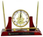 Executive Rosewood Piano Finish Clock/Desk Set Sales Awards